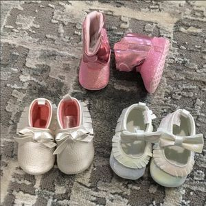 3 Pairs of Baby Girl Shoes Size 3-6 months